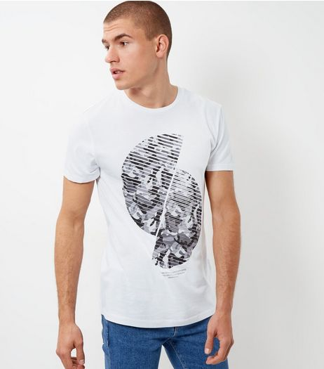 White Spiral Camo Print Panel T-Shirt | New Look