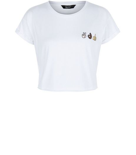 Teens White Emoji Print Crop Top | New Look