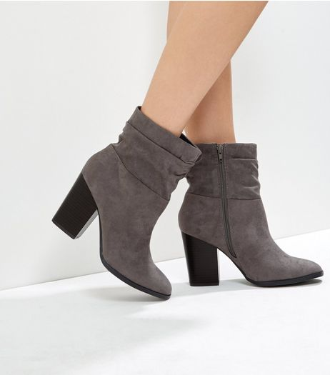 Wide Fit Grey Suedette Block Heel Boots  | New Look