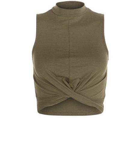 Teens Khaki Twist Front Funnel Neck Top | New Look