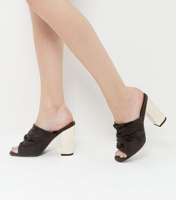 black-suedette-knotted-block-heel-mules