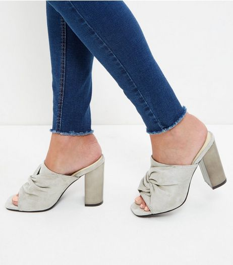 Grey Suedette Block Heeled Mules | New Look