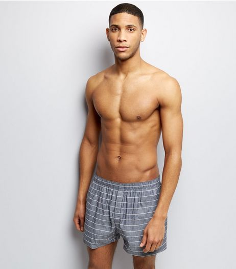 2 Pack Grey and White Stripe Boxers | New Look
