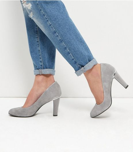 Grey Suede Court Shoes | New Look