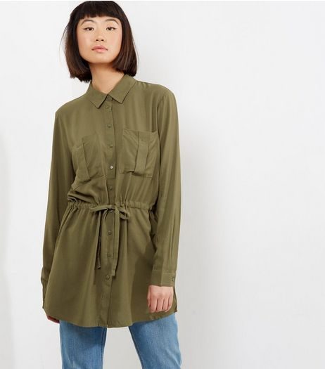 JDY Khaki Drawstring Waist Tunic Dress | New Look