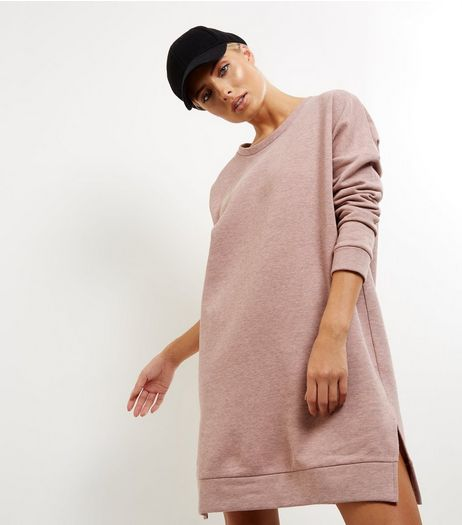 JDY Pink Oversized Long Sleeve Sweater Dress  | New Look