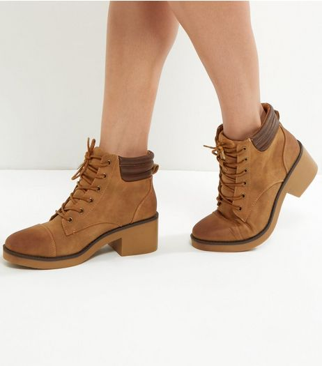 Tan Suedette Padded Cuff Lace Up Ankle Boots | New Look