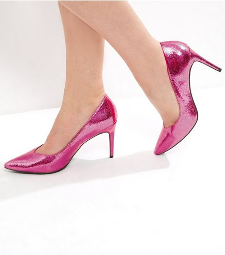 Bright Pink Metallic Textured Pointed Court Shoes | New Look