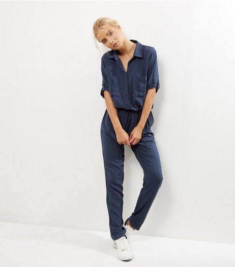 JDY Navy 1/2 Sleeve Shirt Jumpsuit  | New Look