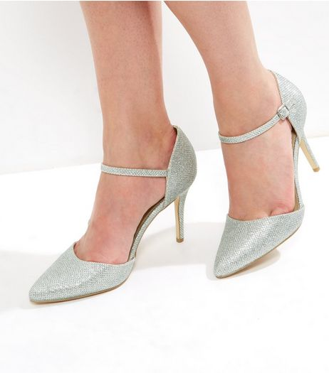 Silver Glitter Pointed Ankle Strap Heels  | New Look