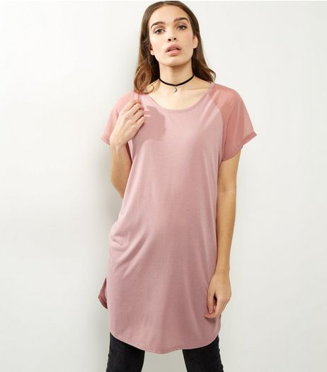 JDY Pink Mesh Short Sleeve Top  | New Look