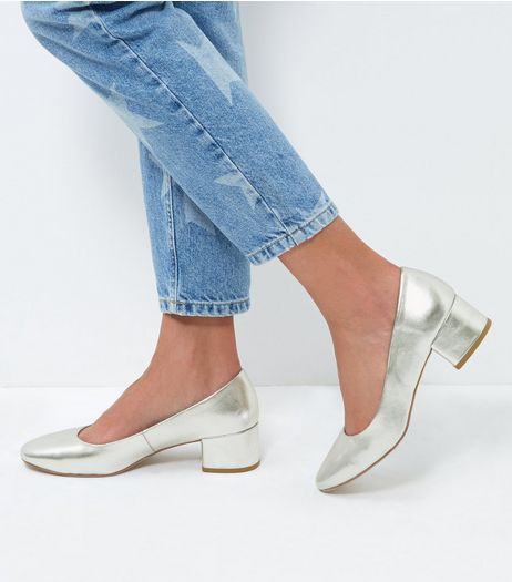 Silver Leather-Look Block Heel Court Shoes | New Look