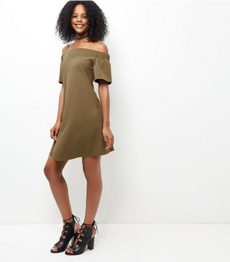 Khaki Scuba Bardot Neck Dress  | New Look