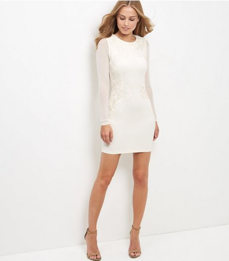 AX Paris Stone Lace Long Sleeve Bodycon Dress | New Look