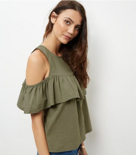 Loving This Khaki Frill Trim Cold Shoulder Top | New Look