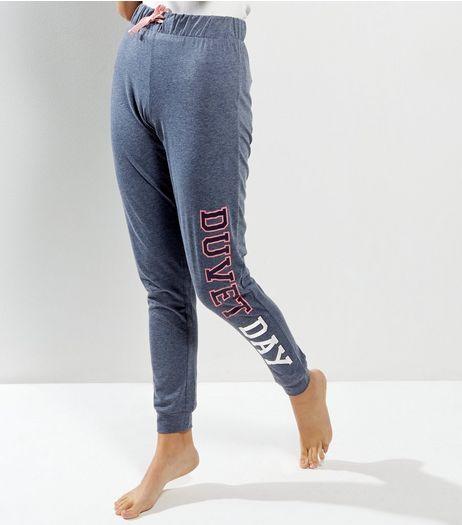 Blue Denim Marl Duvet Day Print Joggers | New Look