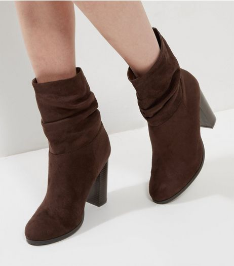Brown Suedette Ruched Block Heel Boots | New Look