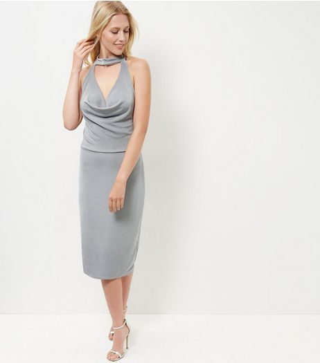 Blue Vanilla Grey Choker Bodycon Midi Dress | New Look