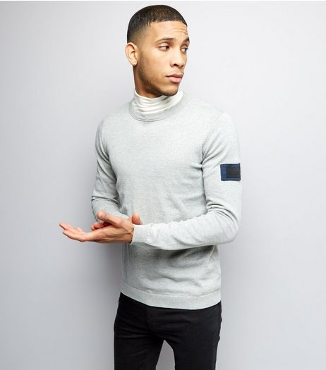 Jack & Jones Grey Sleeve Patch Knitted Jumper | New Look