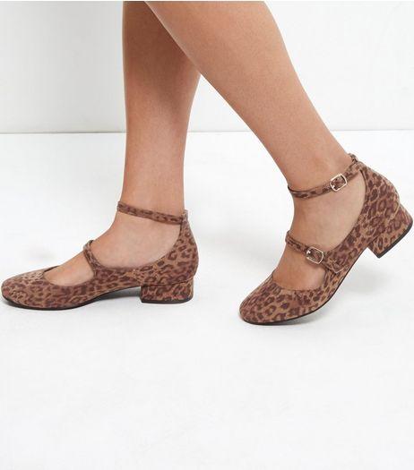 Leopard Print Double Ankle Strap Block Heel Pumps | New Look