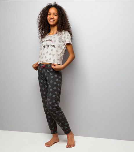 Teens Grey Hello Weekend Pyjama Set | New Look
