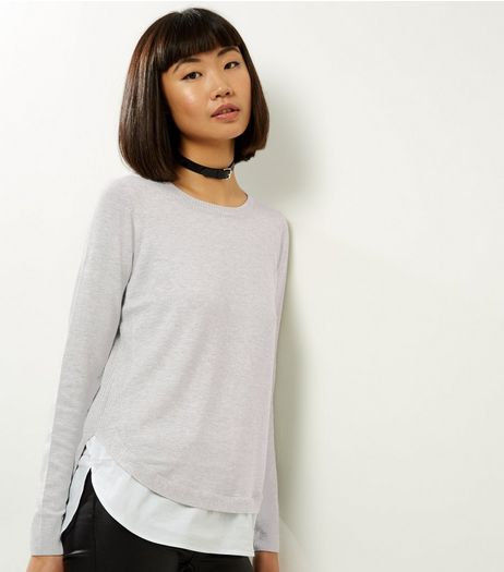 Grey 2 In 1 Crew Neck Jumper | New Look