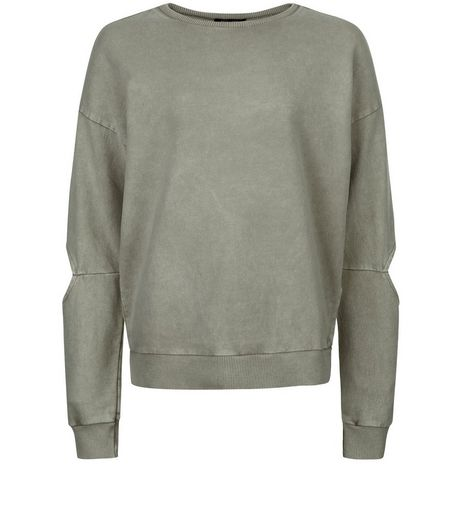 Teens Khaki Acid Wash Cut Out Sleeve Sweater | New Look