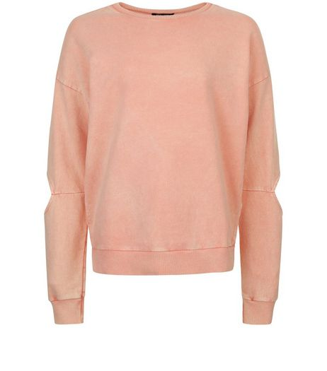 Teens Pink Acid Wash Cut Out Sleeve Sweater | New Look