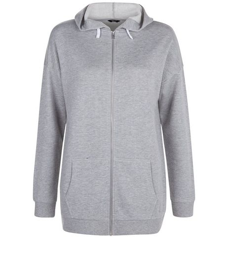 Teens Grey Longline Zip Front Hoody | New Look