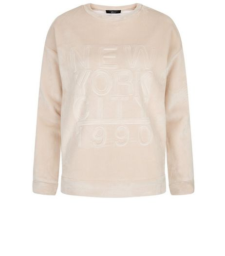 Teens Pink NYC Embossed Velvet Sweater | New Look