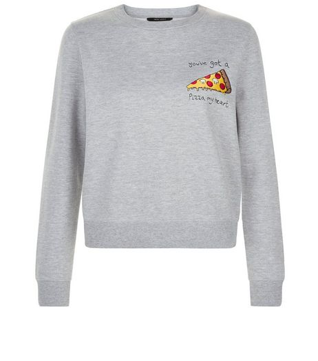 Teens Grey Pizza My Heart Sweater | New Look