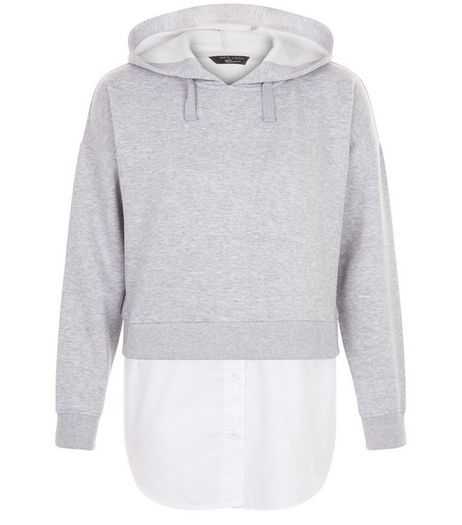 Grey 2 In 1 Hooded Shirt | New Look