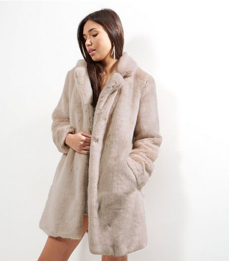 Shell Pink Faux Fur Coat  | New Look