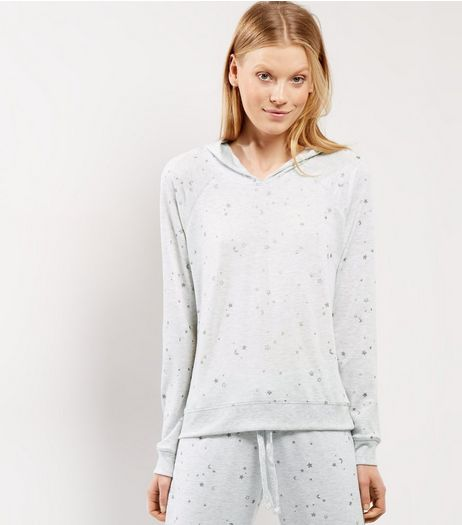 Pale Grey Metallic Star Print Pyjama Sweater | New Look