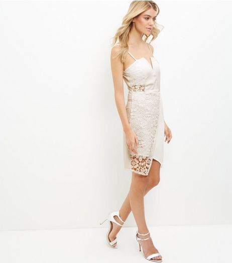 White Lace Layered Bodycon Dress | New Look