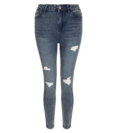 Teens Blue High Waist Ripped Skinny Jeans | New Look