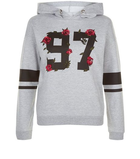 Teens Grey Embroided Flower 97 Print Hoody | New Look