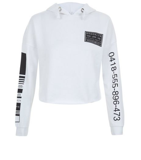 Teens White Phone Number Print Sleeve Hoody | New Look