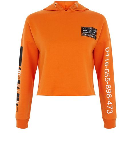 Teens Bright Orange Phone Number Print Hoodie | New Look