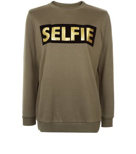 Teens Khaki Foil Selfie Print Boyfriend Sweater  | New Look