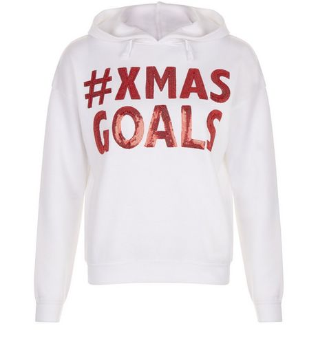 Teens White Xmas Goals Print Hoodie | New Look