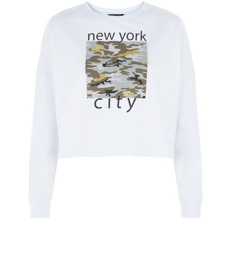 Teens White NYC Camo Print Sweater | New Look