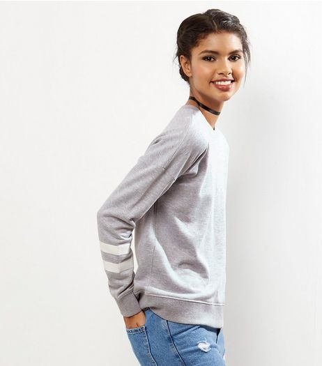 Grey Double Stripe Sleeve Sweater | New Look