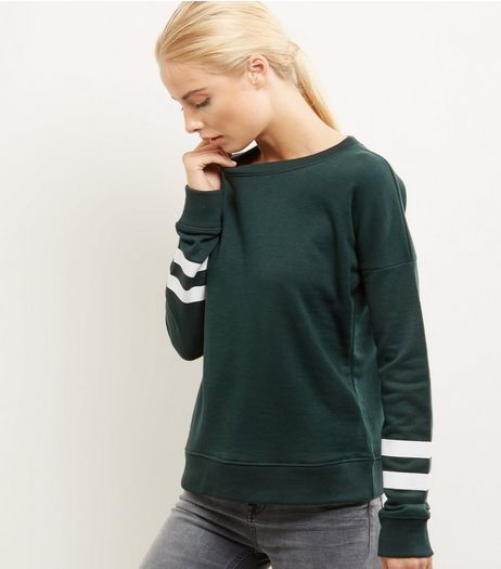 Dark Green Double Stripe Sleeve Sweater  | New Look