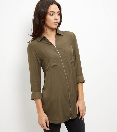 Brave Soul Khaki Zip Front Shirt | New Look