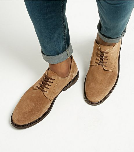 Tan Suede Derby Shoes | New Look