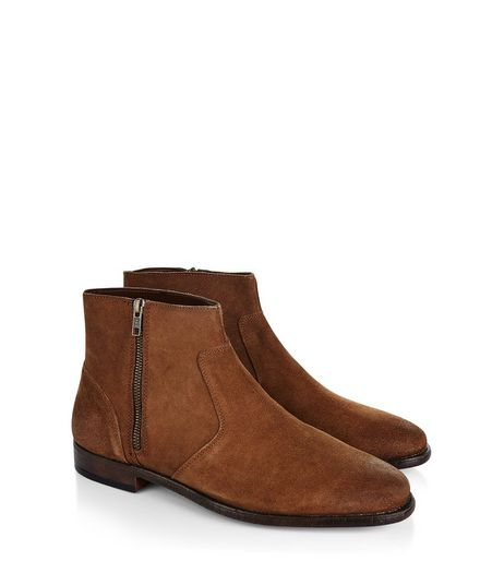 Tan Waxed Suede Chelsea Boots | New Look