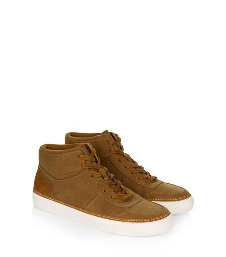 Tan Suedette Hi Top Trainers | New Look