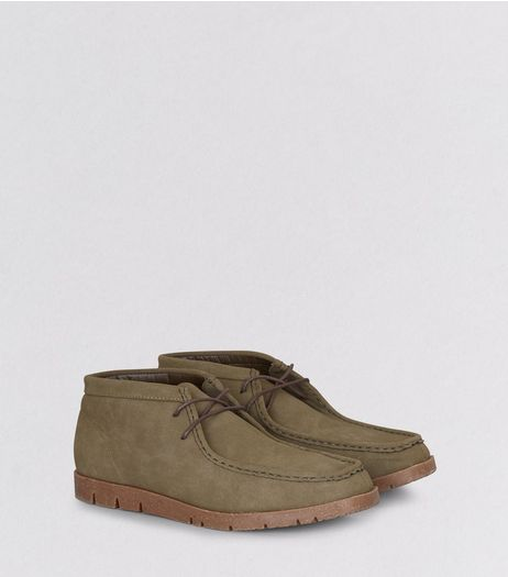 Khaki Suedette Moccasin Boots | New Look