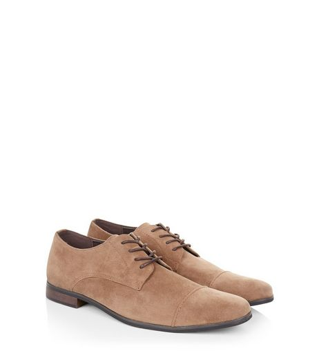 Tan Suedette Lace Up Derby Shoes  | New Look